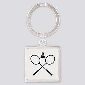 Crossed badminton rackets Square Keychain