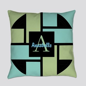 Green Blue Monogram Personalized Everyday Pillow