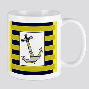 Anchor Gray Navy Yellow Stripe Mugs