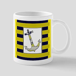 Anchor Gray Navy Yellow Stripe Mugs