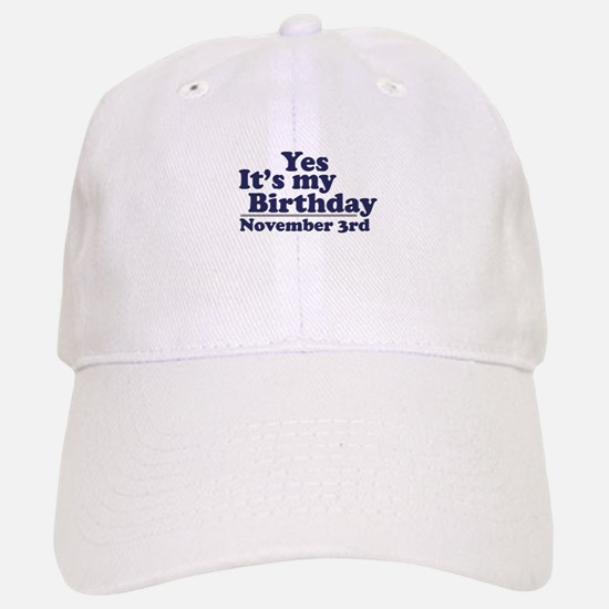 November 3rd Birthday Baseball Baseball Cap