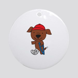 Broken Leg Dog Round Ornament