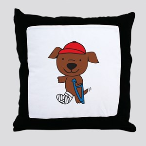 Broken Leg Dog Throw Pillow