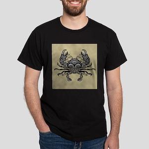 Ornate Black and White Crab Beige Backgrou T-Shirt