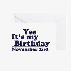 November 2nd Birthday Greeting Card