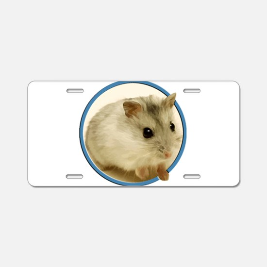 Teeny Hamster in Circle Aluminum License Plate