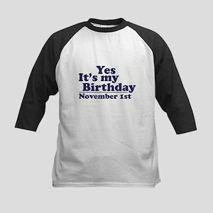 November 1st Birthday Kids Baseball Jersey
