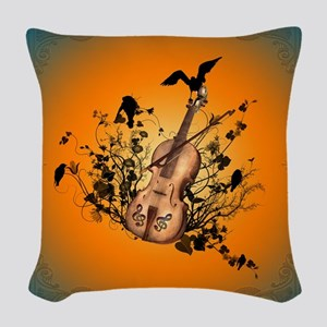 Wonderful violin and violin bow Woven Throw Pillow
