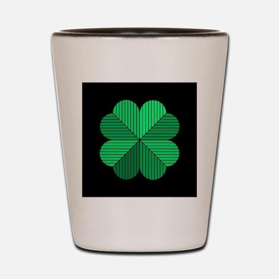 4 leaf clover black Shot Glass