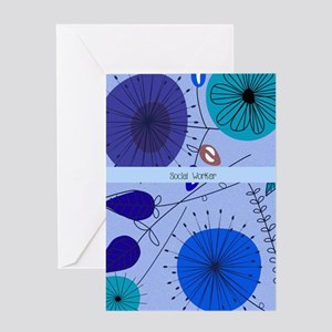Social Worker Blue Floral Greeting Cards