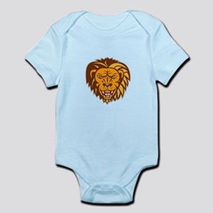 Angry Lion Big Cat Growling Head Retro Body Suit