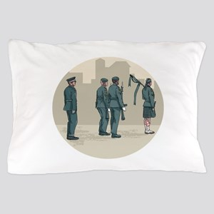 Soldier Bagpiper Marching Circle Watercolor Pillow