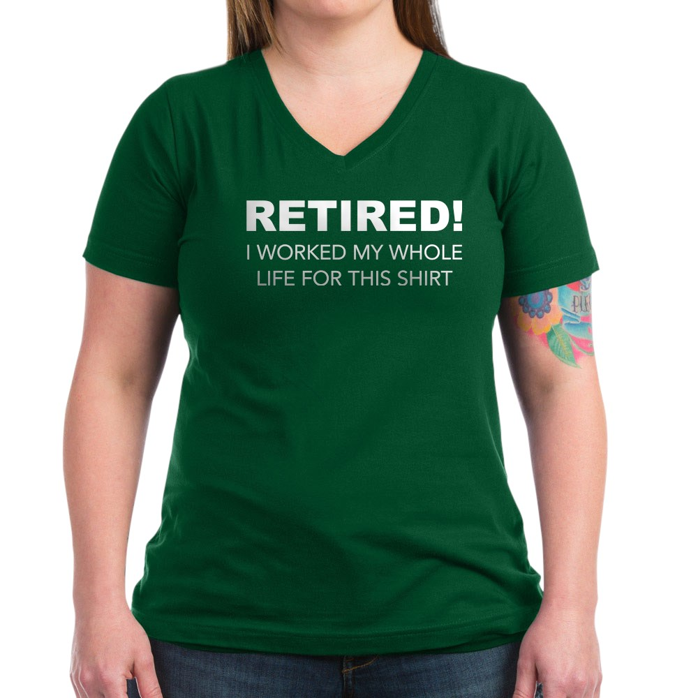 CafePress-Retired-T-Shirt-Women-039-s-V-Neck-Dark-T-Shirt-1731395046 thumbnail 38