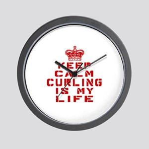 Keep Calm and Curling Wall Clock