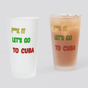 Let's go to Cuba Drinking Glass