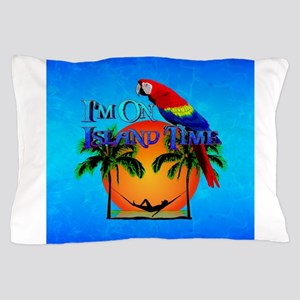 Island Time And Parrot Pillow Case