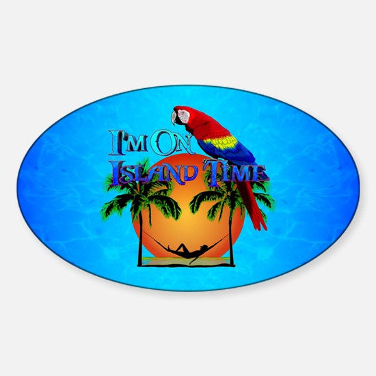 Island Time And Parrot Decal