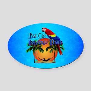 Island Time And Parrot Oval Car Magnet