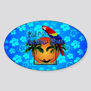 Blue Hibiscus Island Time And Parrot Sticker