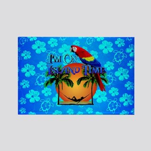 Blue Hibiscus Island Time And Parrot Magnets