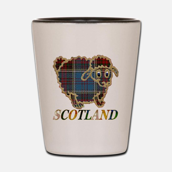 Scotland tartan sheep Shot Glass