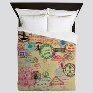 Vintage Passport Stamps Queen Duvet