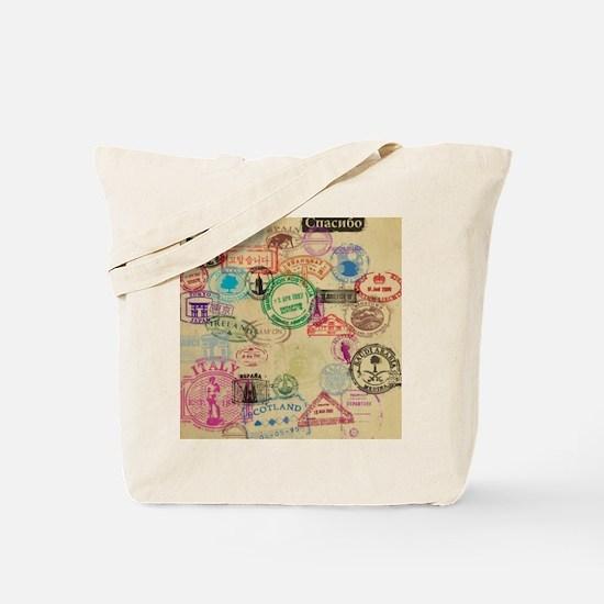 Vintage Passport Stamps Tote Bag