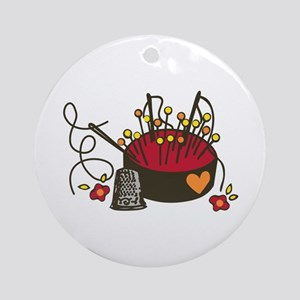 Floral Pin Cushion Round Ornament