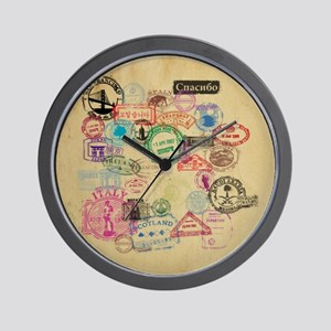 Vintage Passport Stamps Wall Clock