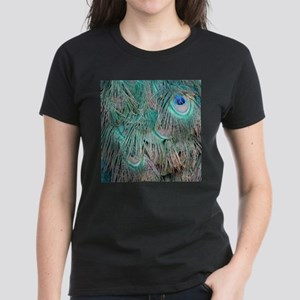 Ruffled Peacock Feathers Brown And Green T-Shirt