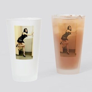 Sexy Pinup Girl in Lingerie Drinking Glass