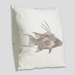 Cindy's Camo Hogfish Burlap Throw Pillow