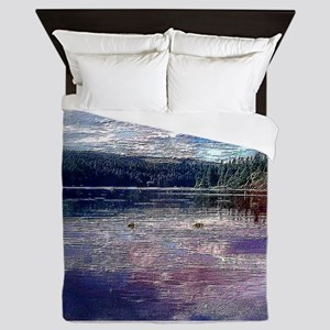 MOUNTAINS AND LAKE Queen Duvet