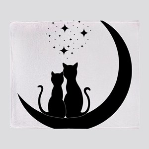 Stargazing cats Throw Blanket