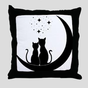 Stargazing cats Throw Pillow