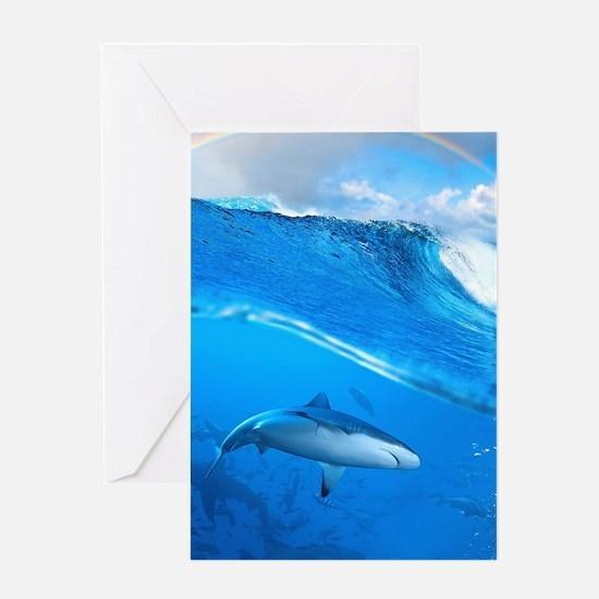 Underwater Shark Greeting Cards