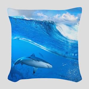 Underwater Shark Woven Throw Pillow
