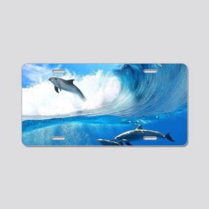 Beautiful Dolphins Aluminum License Plate