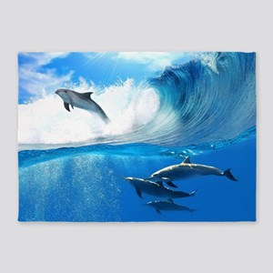 Beautiful Dolphins 5'x7'Area Rug