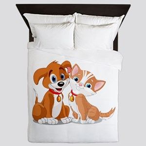 BFFs Dog and Cat Queen Duvet
