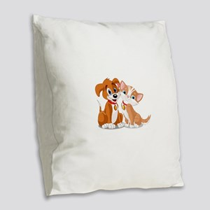 BFFs Dog and Cat Burlap Throw Pillow
