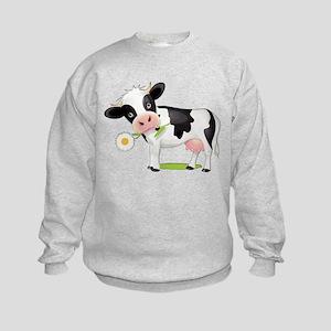 Flower Power Cow Kids Sweatshirt