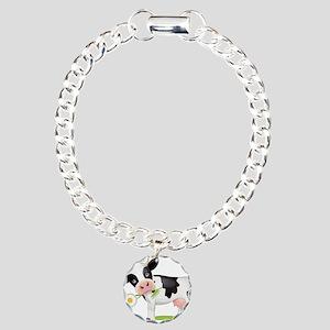 Flower Power Cow Charm Bracelet, One Charm