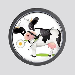 Flower Power Cow Wall Clock