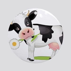 Flower Power Cow Round Ornament
