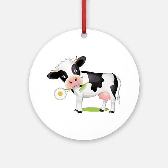 Flower Power Cow Round Ornament