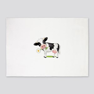 Flower Power Cow 5'x7'Area Rug