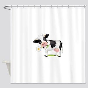 Flower Power Cow Shower Curtain