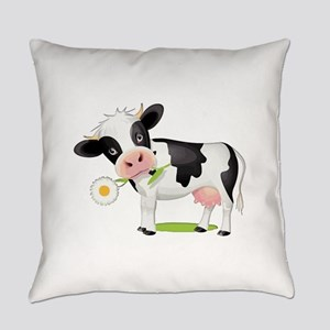Flower Power Cow Everyday Pillow