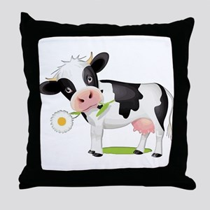 Flower Power Cow Throw Pillow